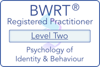 BWRT Level 2 logo showing registered practitioner for the psychology of identity and behaviour.