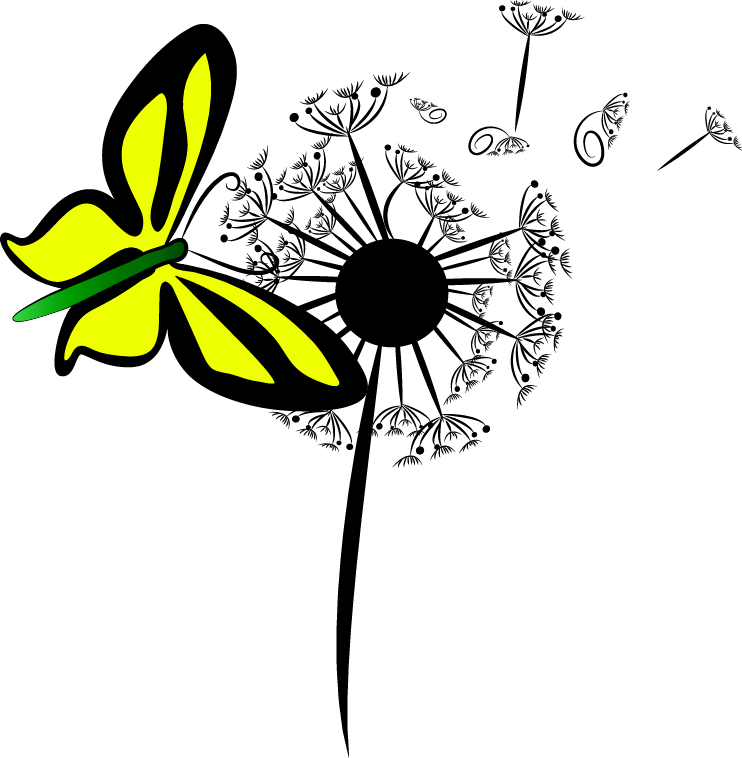 Trance for a Change logo, butterfly and a dandelion