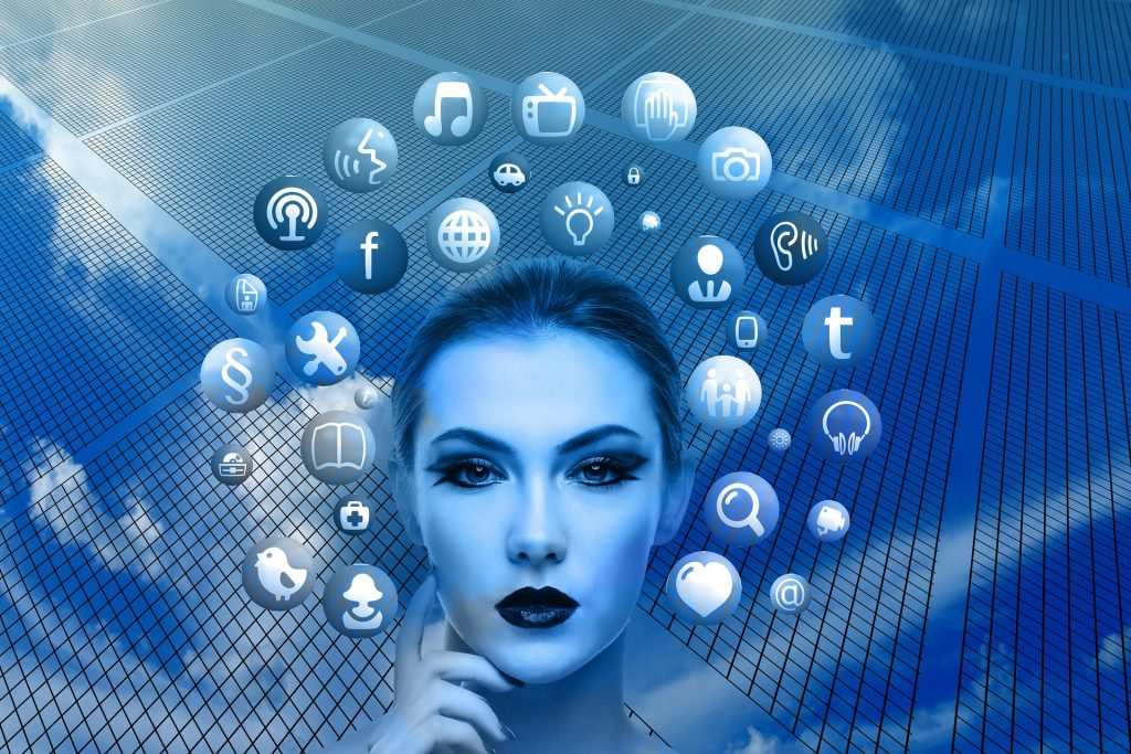 Woman with computer icons
